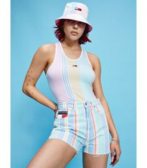 tommy hilfiger women's organic cotton stripe bodysuit romantic pink / stripe - s