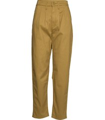 pleated balloon dull gold fine pantalon met rechte pijpen geel levi´s women