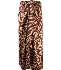 ganni animal print skirt - neutrals