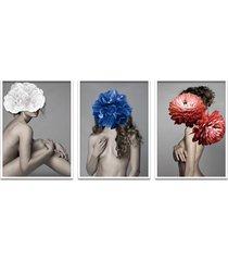 quadro 60x120cm liv mulher com flores branca zul e vermelha moldura branca sem vidro - tricae