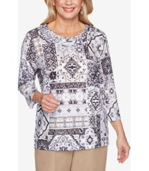 alfred dunner women's missy classics medallion patch print top