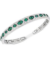 emerald (1-1/5 ct. t.w.) & diamond (1/6 ct. t.w.) bangle bracelet in sterling silver