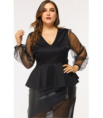 blusa de malla de manga larga con cuello en v y patchwork negro de talla grande
