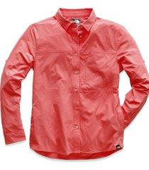 camisa boreaz l/s roll up rojo the north face