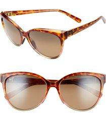 women's maui jim 'olu 'olu 57mm polarizedplus2 cat eye sunglasses - tortoise with tan/ hcl bronze