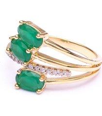 anel boca santa condessa esmeralda - ouro amarelo
