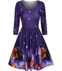 round collar fit and flare halloween print dress