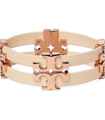 tory burch serif t stacked leather bracelet in rose gold /sand at nordstrom