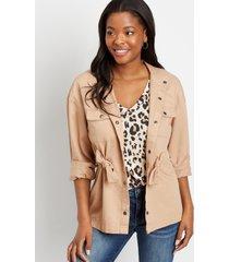 maurices womens khaki tie waist jacket beige
