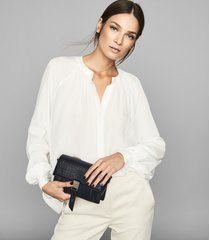 reiss gwen - gather detailed blouse in white, womens, size 12