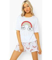 tall dream big pyjama set met t-shirt en shorts, white