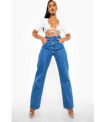 boyfriend jeans met hoge taille, mid blue
