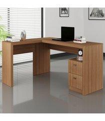 mesa para escritório 2 gavetas amendoa  me4129 - tecno mobili