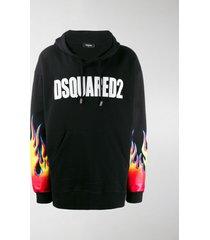 dsquared2 logo flame print hoodie