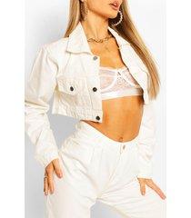 cropped jean jacket, ecru