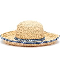 pearl denim embellished straw hat