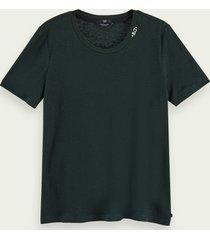 scotch & soda lichtgewicht t-shirt van een linnenmix