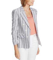 1.state plus size canvas striped ruched-sleeve blazer
