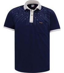 camiseta tipo polo azul oscuro audax con bolsillo