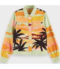 scotch & soda organic tropical print trucker jacket