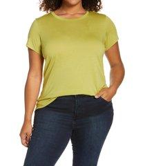 halogen(r) jersey crewneck shirt, size 2x in olive oasis at nordstrom