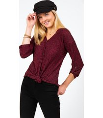 bernette button henley top - wine