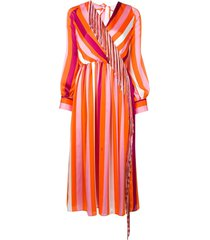 msgm striped tassel dress - orange