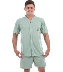 pijama 4 estações masculino adulto com botão aberto short curto verão conforto verde