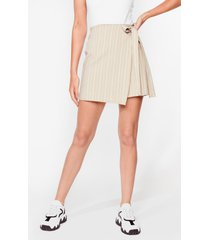 womens fall for your stripe wrap mini skirt - beige
