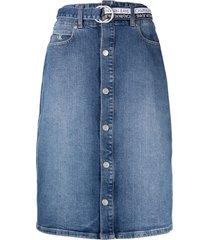 calvin klein jeans denim midi skirt - blue