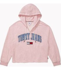 tommy hilfiger women's adaptive tommy hoodie coral blush heather - xs