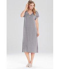 natori zen floral t-shirt nightgown, women's, grey, size m natori