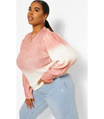 plus tie dye ombre oversized sweater, blush