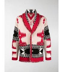 alanui jacquard geometric knit cardigan