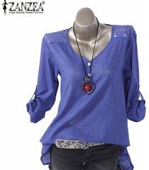 zanzea ocasional de las mujeres suelta el botón de arriba hacia abajo camisa de manga larga túnica de la blusa -azul