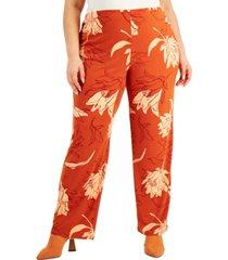 alfani plus size printed straight-leg pants, created for macy's