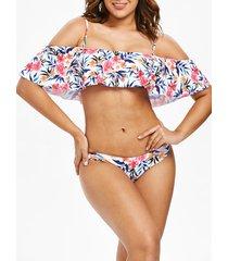 floral flounce cami bikini set