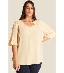 blusa amarilla escote v beige 14