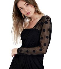 vestido bolas um ombro preto