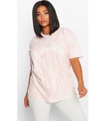 plus washed metallica license t-shirt, peach