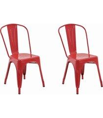 conjunto 02 cadeiras iron vermelha
