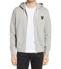 men's comme des garcons play hearts zip-up hoodie, size small - grey