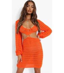 gehaakte gebreide jurk met o-ring detail en uitsnijding, tangerine