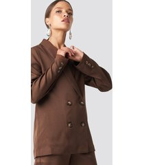 na-kd classic oversized double breasted blazer - brown