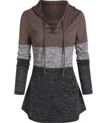 space dye print lace-up contrast hoodie