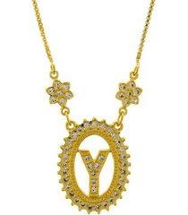 colar horus import letra y zircônia banhado ouro 18k feminino