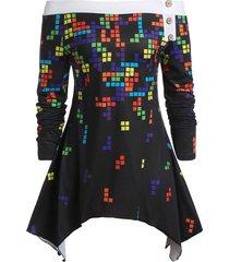 plus size off the shoulder tetris print hanky hem t-shirt