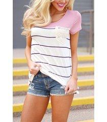 rayas patrón camisetas de manga corta con costuras en rosa
