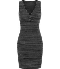 o-ring pull v neck knitted sleeveless bodycon dress