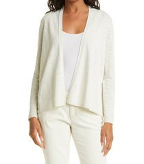women's eileen fisher open front organic cotton & linen cardigan, size large - ivory